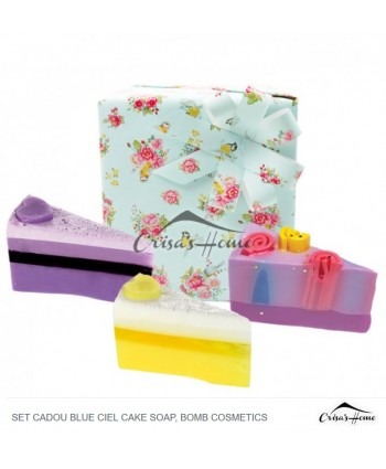 Set cadou Blue Ciel Cake Soap, Bomb Cosmetics