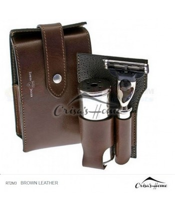 Set de calatorie Brown Leather, Edwin Jagger
